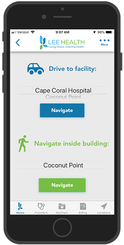Lee Health Hospital Mobile App - Directions To Facility or Within Facility
